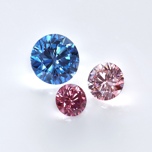Red, pink and blue Lab grown diamonds