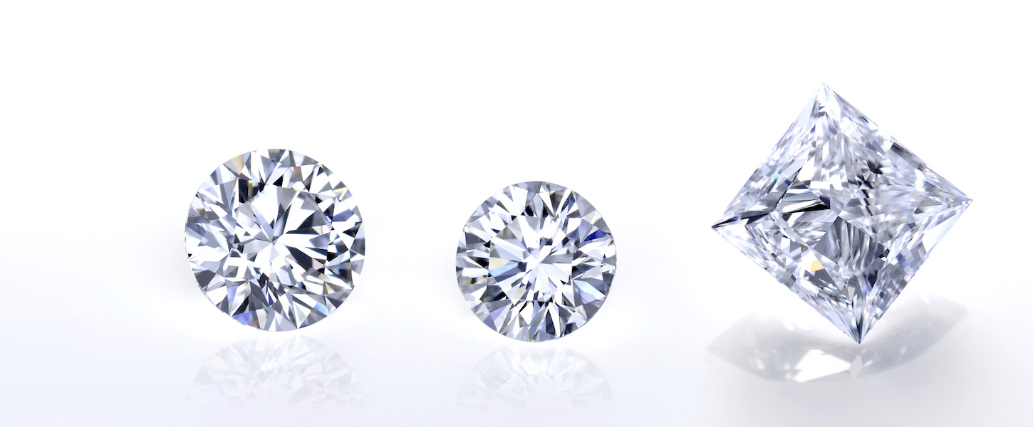 This is a collection of three Lab grow diamonds of different sizes and shapes.